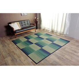 イケヒコ・コーポレーション(IKEHIKO)  い草ラグ おしゃれ コンパクト シンプル カーペット 『DXモーセ』 ブルー 約180×240cm約180×240cm ブルー