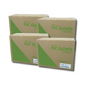 プレミア・PVCグローブ パウダー付 1箱100枚入り10箱×4 介護用品 粉付 使い捨て 手袋 プラスチック メーカー直送品 送料無料