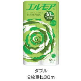 【段ボール1ケースでの配送】エルモア トイレットロール12R ダブル2枚重ね30m 花の香り×8入り