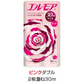 【段ボール1ケースでの配送】エルモア トイレットロール12R ピンクダブル2枚重ね30m 花の香り×8入
