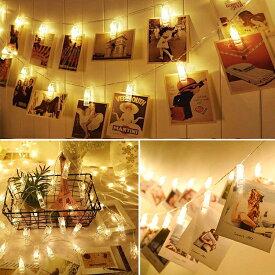 写真飾りライト LEDストリングライト 20LED写真 3M 絵クリップ DIY 飾り イルミネーションライト ウォームホワイト 電池駆動式 クリスマス 元旦 新年 結婚式 誕生日 パーティー