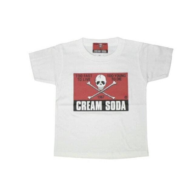 CREAM SODAキッズ角ドクロTシャツホワイトクリームソーダ