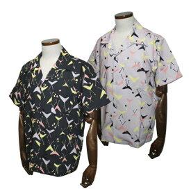[送料無料]グッドロッキンGRS-321 半袖ブーメランプリントオープンシャツブラック/ライトグレーGood Rockin