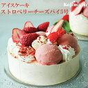 【アイスケーキ ストロベリーチーズパイ5号】アイスケーキ アイスデコレーション 苺 お誕生日 バースデイ 送料無料 …