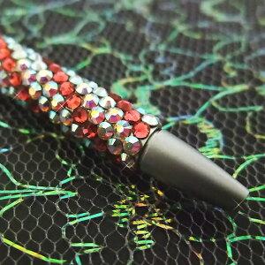 【メール便送料無料】デコ ボールペン★スワロフスキー・ストライプ柄細身 ボールペン(替え芯付き) スワロ ボールペン