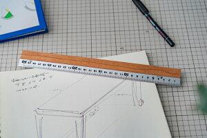 定規 30cm アルミx天然木で高級感のある 木製 定規 ものさし RULER ウォルナット チェリー マホガニー