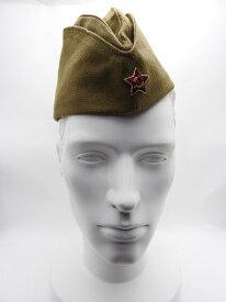ソビエト Soviet ピロトカ 軍用 本物 レッドスター バッジ付 帽子 カーキ色 ロシア オリジナル Made in Russia (pilotoka) 全4色 サイズ
