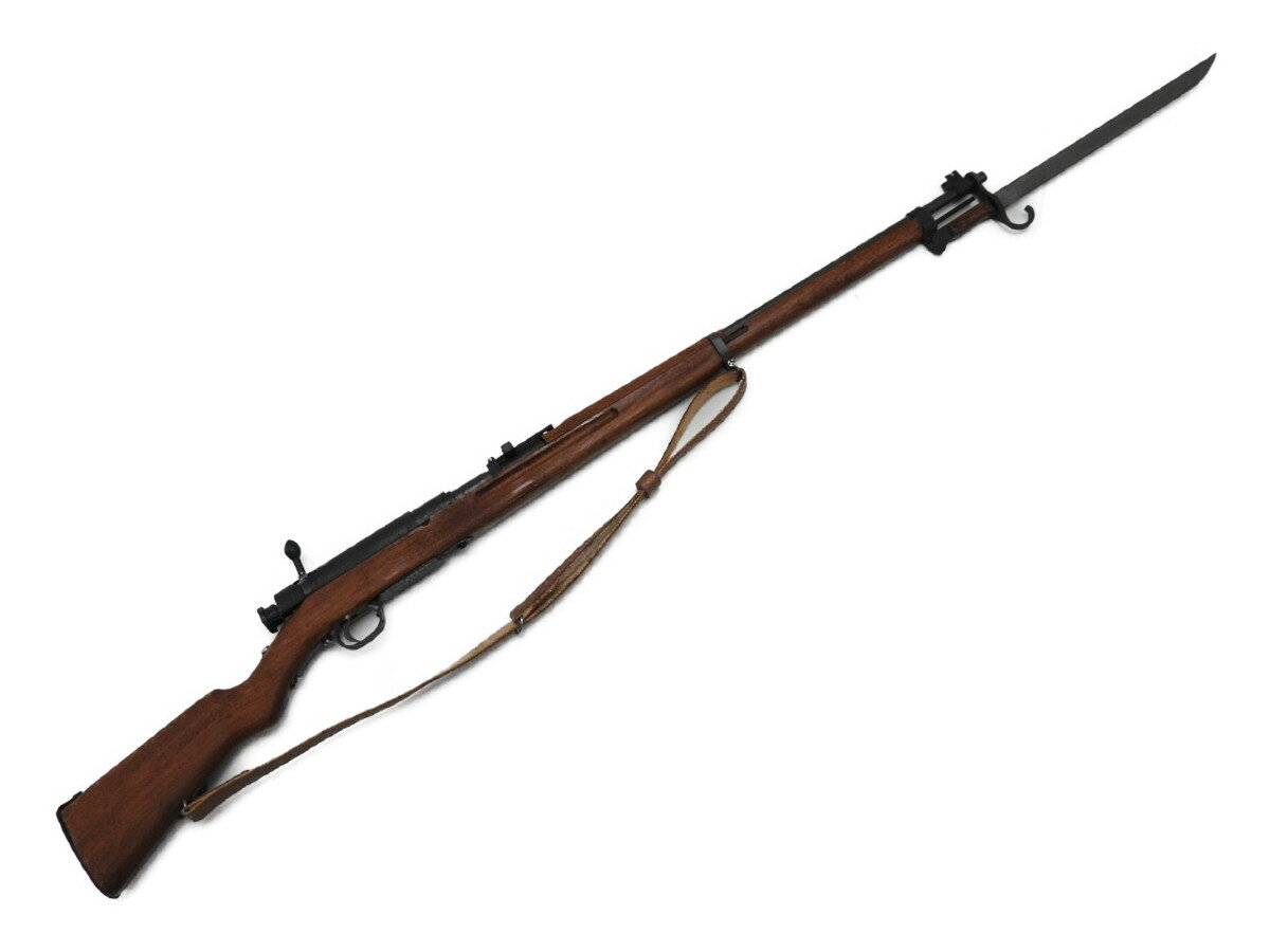 1/6 ミニチュアガン 三八式歩兵銃 三十年式銃剣 鞘、弾薬、本革製負い革付 リアルウッドストック スチール製本体 ライフル 銃