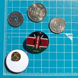 ケニア旗ガラスピンバッチ