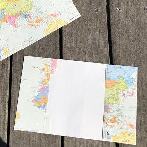 .carto文庫ブックカバー世界地図ポップ2枚セット【ドットカート/東京カートグラフィック】