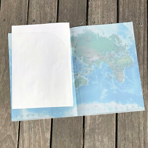 A4クリアファイル世界地図・地勢メルカトル【東京カートグラフィック】