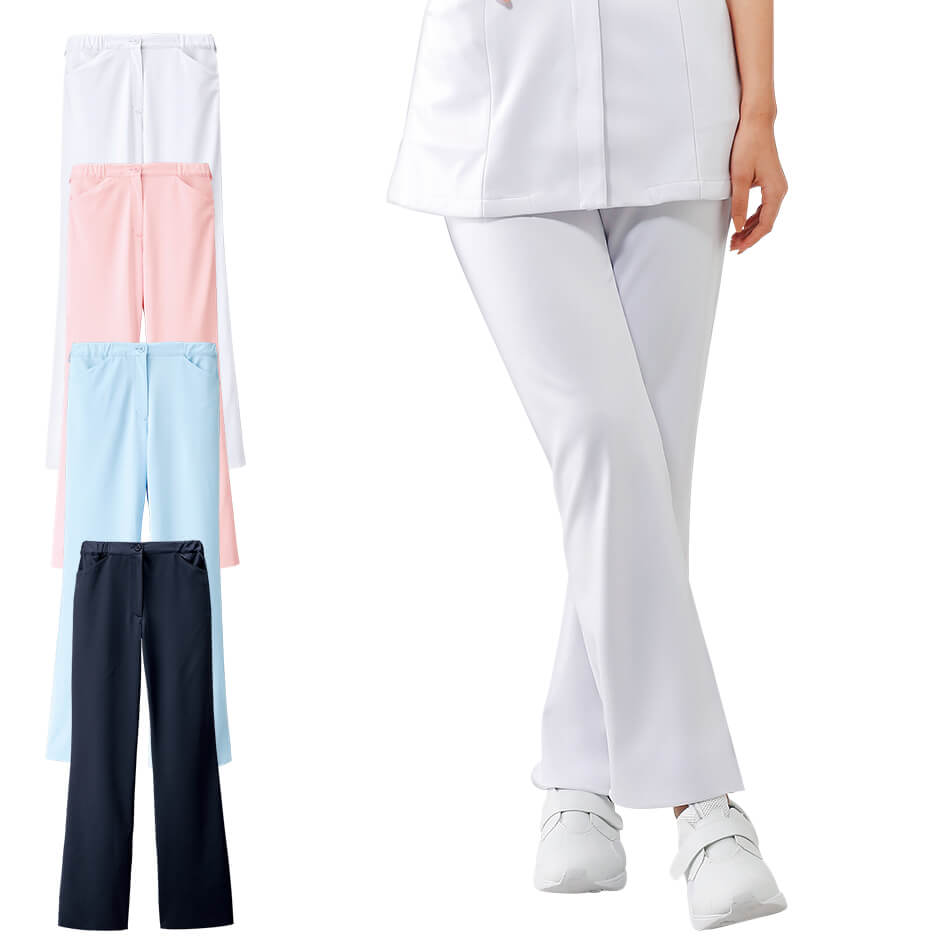 2108 ベーシックストレートパンツ【医療 ナース 看護師 白衣 女性】