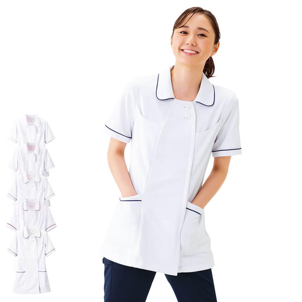 2277 オープンカラーパイピングジャケット(S〜3L)【医療 ナース 看護 白衣 女性】