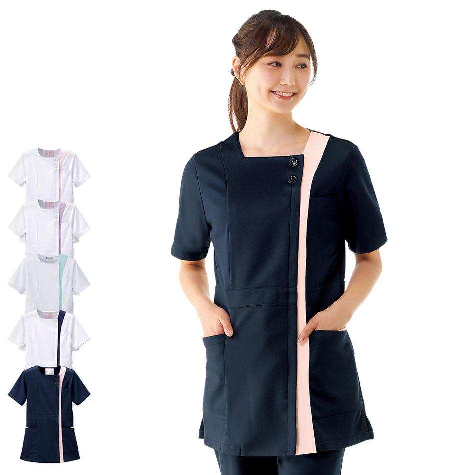 2345 スクエアカラーチュニックジャケット【医療 ナース 看護師 白衣 女性】
