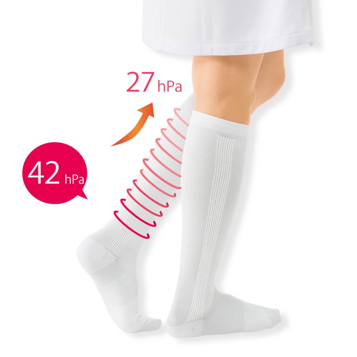 6135 ふくらはぎテーピング&アーチパネル着圧ハイソックス【医療用 白 ソックス 看護 介護 病院 靴下 ナース 女性】