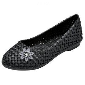 14463 フラワーモチーフフィットパンプス【ナースシューズ 看護師 介護 ケア 屈曲 かわいい 可愛い 軽量 白 ホワイト 黒 ブラック 小さいサイズ 靴】