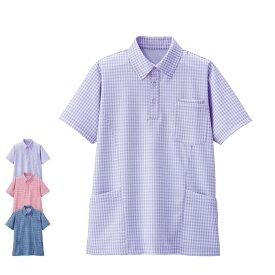 [ポイント9倍]PL00055 ギンガムチェック サイドポケットニットシャツ【看護 介護 病院 保育士 ケア ヘルパー レディース メンズ 女性 男性 男女兼用】ポイント9倍期間:2020/2/25のみ