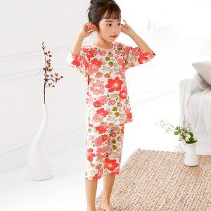 (1.5)韓国子供服 ピンクフラワー 寝巻き 7分丈 パジャマ 100cm 110cm 120cm 130cm 140cm 韓国子供服 kidspajama キッズパジャマ 子供ルームウェア こども用 子ども用 男の子 おとこのこ 女の子 おんなのこ