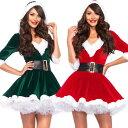 新作 人気 レディース クリスマス 衣装 帽子付き ワンピース 女性 少女 サンタクロース コスプレ Christmas part ハロ…
