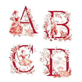クロスステッチ図案  Le grand ABC (Toile de Jouy) rouge (アルファベット ワルドジュイ26のモチーフ)