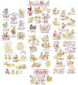 クロスステッチ図案 La grande histoire des poulettes (ひよこの大きなストーリー 53のモチーフ)