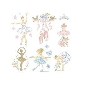 クロススッチ図案 Ballerina-Little story in 6 charts (バレリーナ)