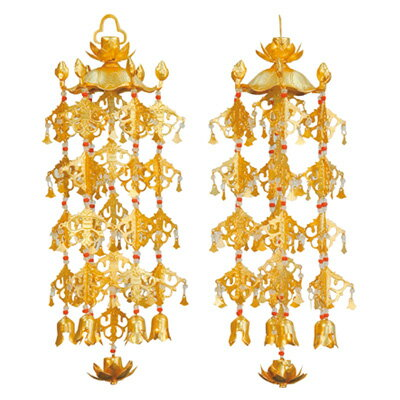 真鍮蓮傘 珱珞 (1対) 消金メッキ 大/5号