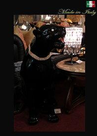 【イタリア 】豪華絢爛 イタリア スワロフスキーネックレスのブラックパンサー 置物【smtb-s】 10P27May16