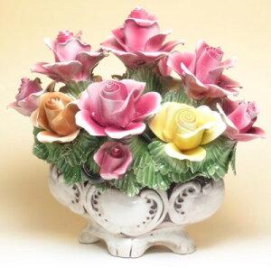 素敵なアイテム!やっと見つけた!北イタリア・ヴィチェンツァ製ローズ色 薔薇の陶花グランデ・ミスト