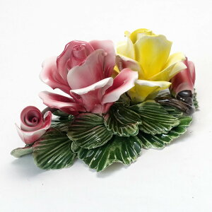 素敵なアイテム!ハンドメイド 北イタリア ヴィチェンツァ製 陶花 バラ 壁掛け イエローローズ 黄 バラ