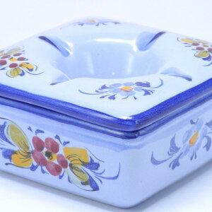 ポルトガル製 おしゃれ 灰皿 フタ付きブルーフラワー柄 白 陶器製 蓋付きアッシュトレイ