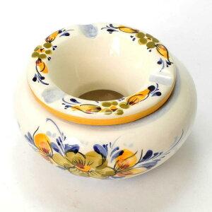 ポルトガル製 おしゃれ 灰皿 フタ付き 丸型 黄色 陶器製 優しい小花柄 イエロー アッシュトレイ