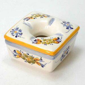 ポルトガル製 おしゃれ 灰皿 フタ付きイエローフラワー柄 黄色 陶器製 蓋付きアッシュトレイ