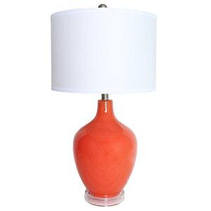 素敵なアイテム ガラスのテーブルランプ オレンジ