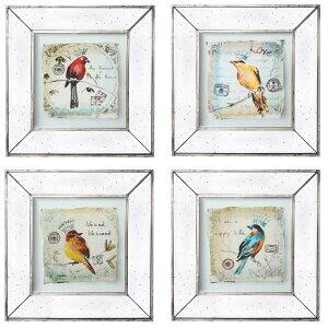 アートフレーム 4Pセット 額絵 ミラー 鏡 インテリアアート 鳥 バード お洒落 アンティーク調