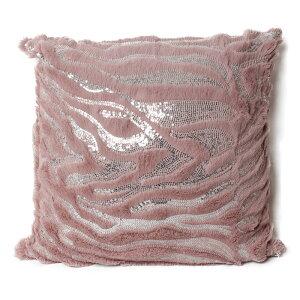 クッションカバー 45X45cm 正方形 ピンク スパンコール ファー