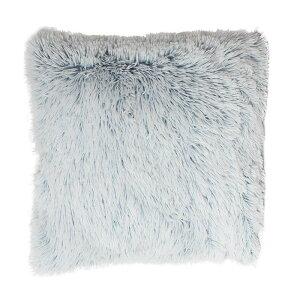クッションカバー 45X45cm 正方形 ブルー シャギー
