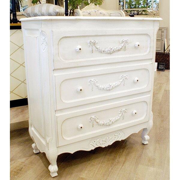 【送料無料】 お姫様系家具/木製ホワイト箪笥 -3段チェスト- 豪華装飾