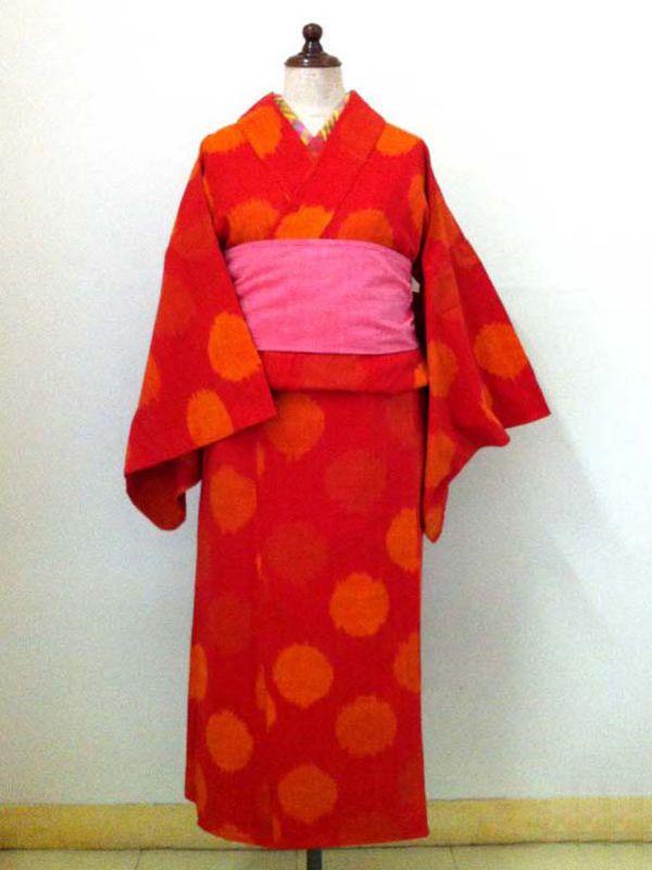 【ラッピング可】【1点もの】HitoMi 浴衣 イカット水玉 赤/デザイナーズ/可愛い/ゆかた/インド/サリー/綿