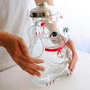 招き猫 菓子びん フタ付き 【送料無料 ガラス 保存容器 瓶 びん ビン ガラス瓶 保存瓶 お菓子入れ あめ玉 容器 宝くじ…