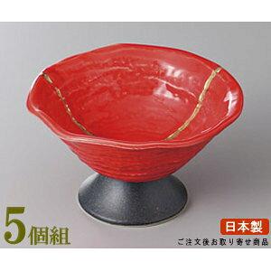 高台小鉢 5個組 日本製 金線赤高台デザート 5個 業務用 和食器 食器 陶器 小鉢 皿 和風 上品 高級感 豪華 華やか おしゃれ 食器洗浄機可能 足が高い 一品料理 角煮 日本料理 和スイーツ デザー