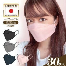 JN95 マスク 日本製 不織布 6色展開 30枚 1箱 カラー ピンク ブラック グレー ネイビー NEW ライトグレー ラベンダー国産マスク おしゃれ 個包装 3D立体型 4層構造 KF94と同型