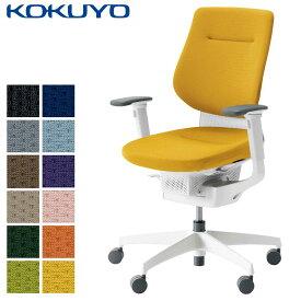 コクヨ デスクチェア オフィスチェア 椅子 ing イング CR-GW3213E1 クッションタイプ バーチカルタイプ 可動肘 ホワイトシェル ホワイト樹脂脚 -v フローリング用キャスター