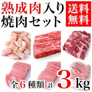 焼肉セット 熟成肉500g 上カルビ500g ハラミ500g 焼肉用黒豚バラ500g 焼肉用特上ロース500g マルチョウ500g 合計3kg 焼肉 盛り合わせ 和牛 高級 黒毛和牛 国産牛 ホルモン 熟成肉 セット 送料無料(ka