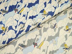 KTS6497 綿麻キャンバスプリント 波乗り サーファー猫&カツオ ◆◆(数量×50cm)【C2-6】U-2