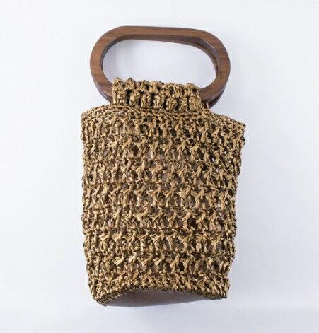 【メルヘンアート】 樹皮もどきで編む オーバル手口のバッグ 3418-アンティークゴールド ◆◇ 【取寄せ品】 【C4-11】U-NG