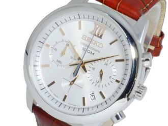 SEIKO SEIKO quartz men Kurono watch SSB143P1 silver X brown