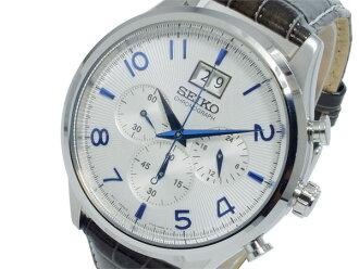 精工精工计时石英男士手表 SPC155P1 白色银深棕色