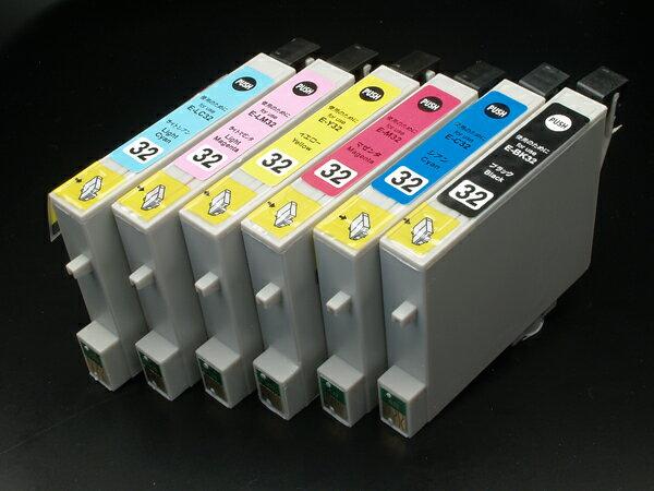エプソン IC32互換インクカートリッジ 6色セット IC6CL32 L-1470G PM-A850 PM-A850V PM-A870 PM-A890 PM-D750 PM-D750V PM-D770 PM-D800 PM-G700 PM-G720 PM-G730 PM-G800 PM-G800V PM-G820【メール便送料無料】 6色セット C、M、Y、K、LC、LM