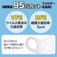 立体型マスク耳が痛くない三層フィルターVFEBFE普通サイズ不織布使い捨て10枚入り【メール便可】-画像5